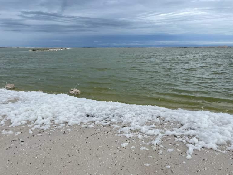 The ocean side of Las Coloradas with foam.