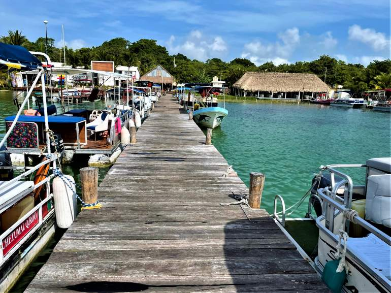 A boat dock in Bacalar.