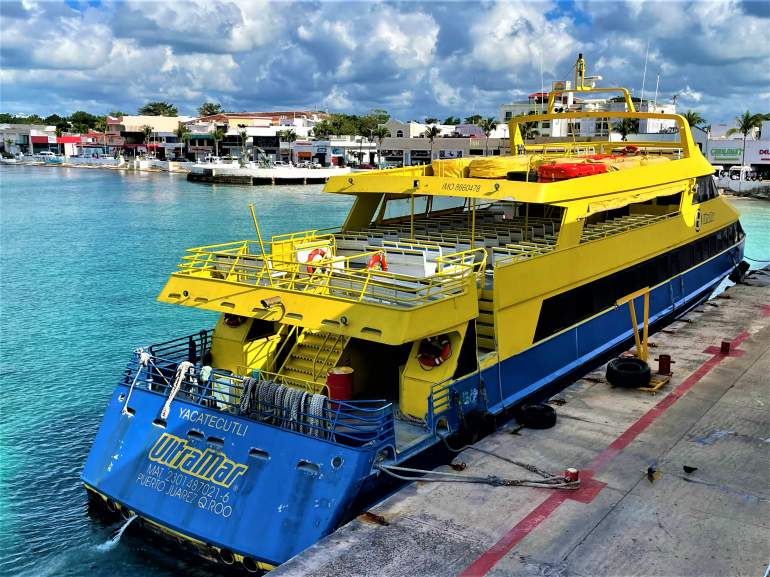 A ferry in Cozumel, unlike Cancun which you can't arrive to by ferry from there.