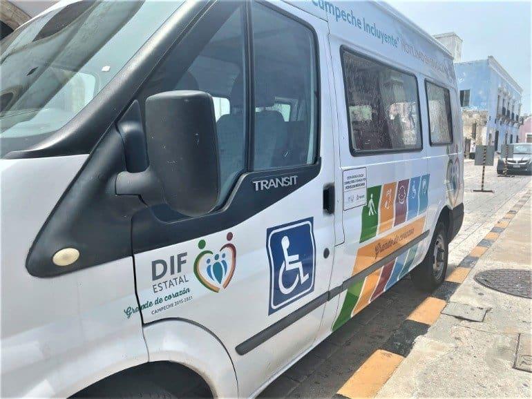 A wheelchair accessible van.